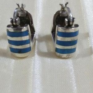 Vintage sterling turquoise small hoop earrings